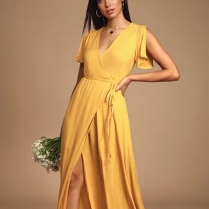 Lulu's Golden Yellow Wrap Dress